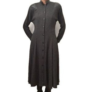 Vintage Wool and Leather Long Sleeve Maxi Dress